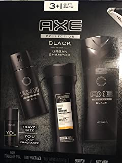 Axe Black 4 Piece Boxed Gift Set with Urban Shampoo, Body Wash, Daily Fragrance and bonus Travel-size YOU Daily Fragrance