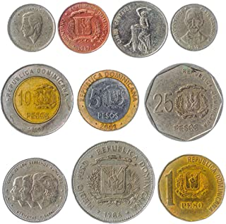 10 Different Coins from Dominican Republic. 1-25 Pesos, Since 1963. Money from The Caribbean Island. Perfect Choice for Yo...