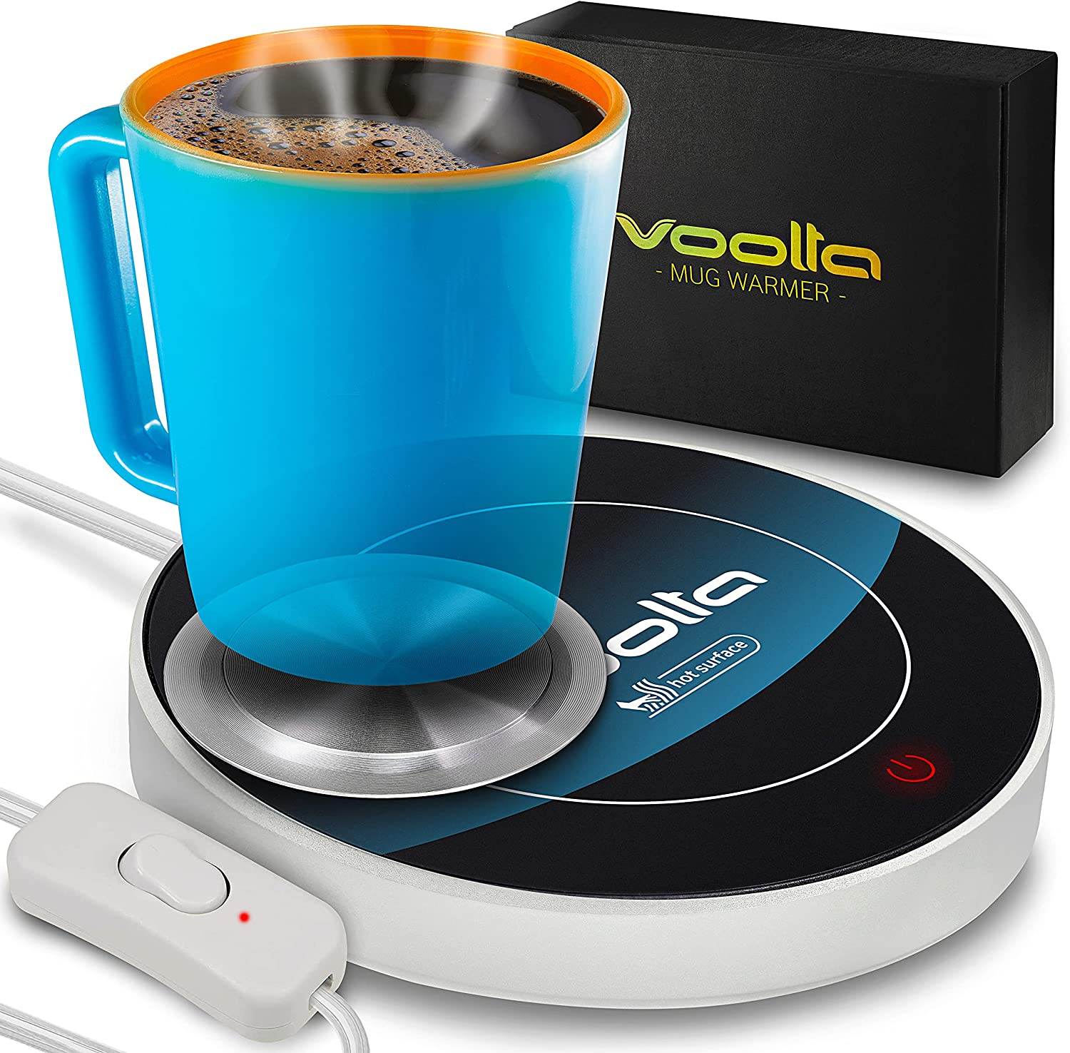 VOOLTA Gravity Smart Coffee Mug Warmer - Auto-Gravity Activated Coffee, Tea & Milk Cup Warmer for Desk - Concave Aluminum Heater Disk for All Style Cups - Tempered Glass Mug Warmer, Auto Shut Off