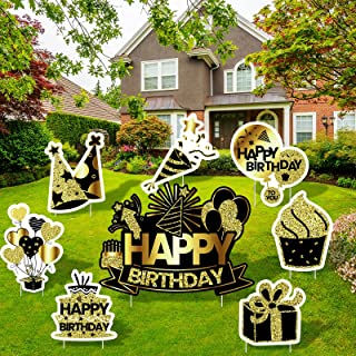 RUODON 8 Pack Black Gold Happy Birthday Yard Signs Balloon Birthday Hat Yard Sign with Stakes Outdoor Lawn Sign Decoration...