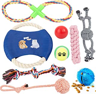 Chongai Dog Toys 10 Pack Gift Set Ball Rope Chew Squeaky for Medium to Large Dog