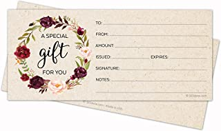 321Done Blank Gift Certificates (24 Pack) 4x9 for Small Business, Holiday, Christmas Voucher, Spa, Salon - Rustic Floral Wreath Tan Kraft Color