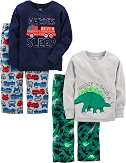 Little Kid and Toddler Boys' 4-Piece Pajama Set (Cotton...
