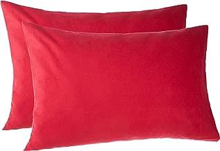 Pinzon 170 Gram Flannel Cotton Pillowcases, Set of 2, Standard, Merlot Red
