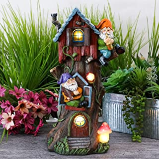 TERESA'S COLLECTIONS 14.8 Inch Garden Gnome House Statues with Solar Powered Christmas Tree House Garden Lights Figurines for Outdoor Patio Yard Decorations (Resin)