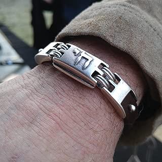 Hebrew Chai Bracelet Black Leather Bar Mitzvah, Men and Women Jewelry