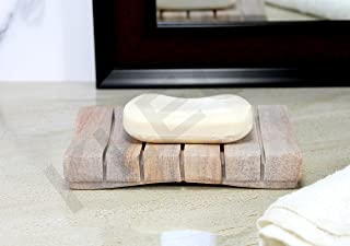 Stonkraft Rectangular Rigged Shaped Soap Dish Made of Natural Rainbow Stone - Natural Water Absorbent, Unique Bath Kitchen...
