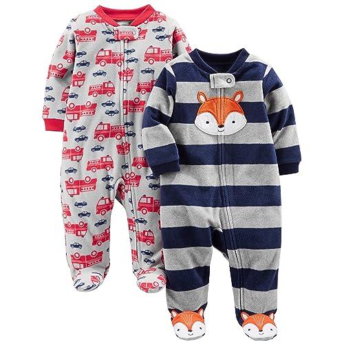 73b519831 Simple Joys by Carter's Baby Boys' 2-Pack Fleece Footed Sleep ...