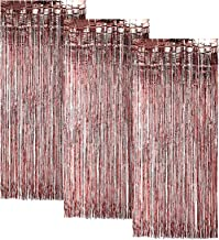 Rose-Gold FOIL Fringe Curtain | Metallic Shimmering Tinsel Decoration | Great for Party Décor, Photo Backdrops and More | Easy Installation | 3' x 8' | 3 pc