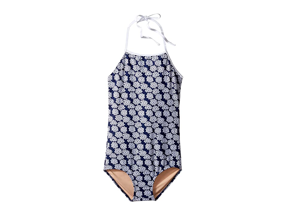 Toobydoo Floral One-Piece Swimsuit (Infant/Toddler/Little Kids/Big Kids) (Navy/White) Girl