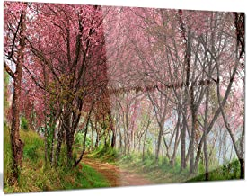 Designart Sakura Pink Flowers in Thailand Landscape Metal Wall Art, 28x12, 12'' Hx28'' Wx1'' D 1P