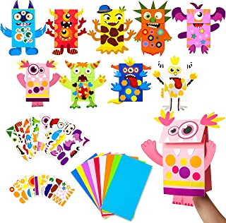 WATINC 9Pack Monster Hand Puppets Art Craft Paper Sock Puppet DIY Making Your Own Puppet Kits Early Learning Classroom Fam...
