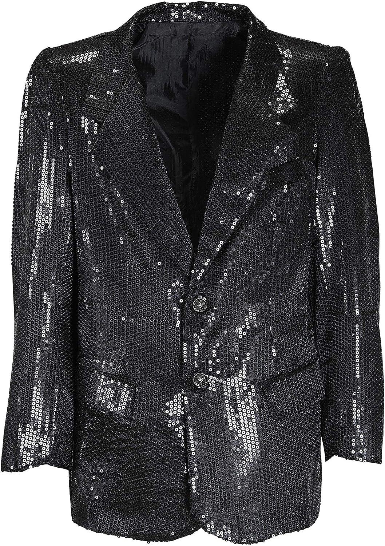 Mens Black Sequin Jacket Costume Extra Large UK 46  for 70s Disco Fancy Dress