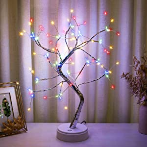 Bonsai Tree Lamp with 108 LED Fairy Light Spirit Tree Lamp, DIY Artificial Tree Lights, Battery/USB Operated, for Bedroom Desktop Christmas Party Tabletop Indoor Decor Lights (Colorful)