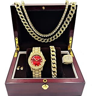 Fully Iced Mens Gold Big Rocks Bezel Bloody-Red Dial with Roman Numerals, Cuban Chain Bracelet, Cuban Necklace, Tennis Chain & Ring Size 11 - Bloody Red/Gold - ST10327CRNTG(11)