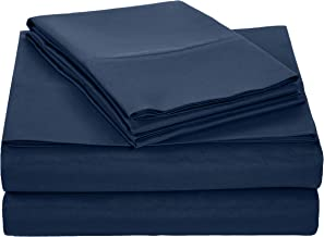 AmazonBasics Light-Weight Microfiber Sheet Set - Queen, Navy Blue