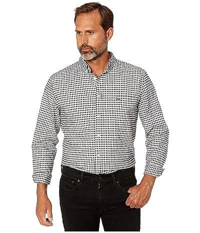 Lacoste Long Sleeve Oxford Gingham Button Down Collar Regular (White/Black) Men