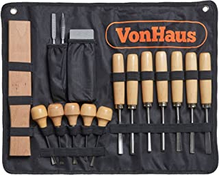 VonHaus 16pc Wood Carving Tool Set with Wood Knives, Carving Tools, Files Sharpening..