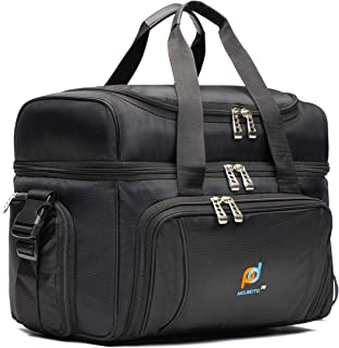 MOJECTO Large Cooler Bag. Two Insulated Compartment, Heavy Duty Fabric, Thick Insulation, 2 Heat Sealed Soft Peva Liner, Many Pockets, Strong Double Zipper, Padded Straps. for Men Women