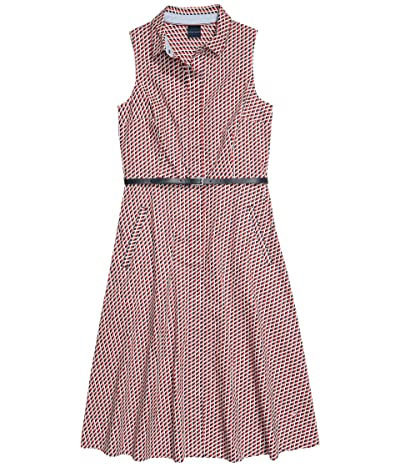 Tommy Hilfiger Adaptive Cleveland Belted Sleeveless Shirtdress with Hidden Magnetic Closure (Core Navy/Multi) Women
