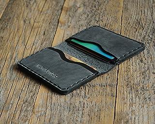 Grigio e Nero portafoglio in pelle. Porta Carte di credito, contanti o carta d'identità. Tasca Unisex in stile rustico. Cu...