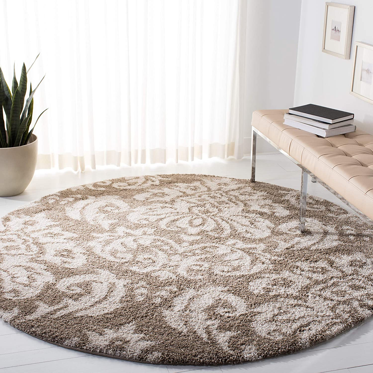 Safavieh SG46013114R Florida Shag Collection Beige Cream Round Area Rug, 4Feet in Diameter
