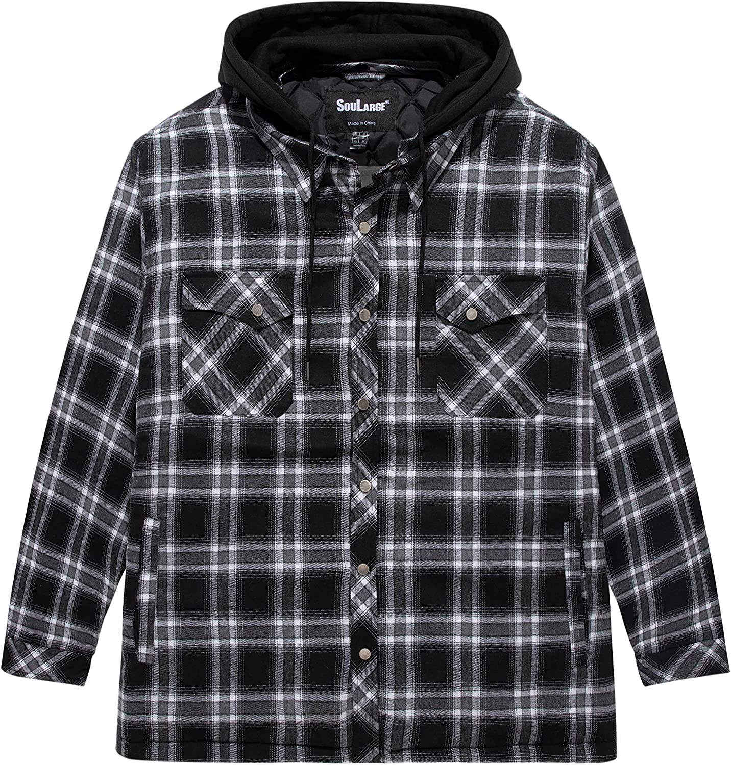 Soularge Men's Big and Tall Thicken Plaid Cotton Quilted Shirt Jacket with Hood