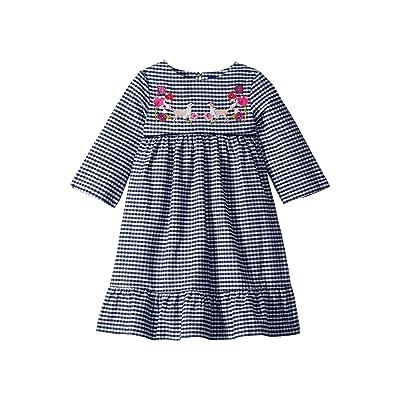 Joules Kids Printed Peplum Frill Dress (Toddler/Little Kids) (Navy Gingham Fox) Girl