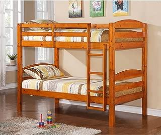 WE Furniture Classic Wood Twin Bunk Kids Bed Bedroom, Honey