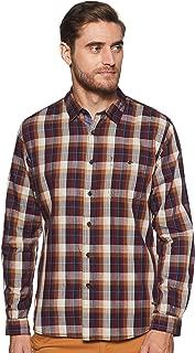 CHEROKEE Men's Solid Regular Fit Casual Shirt (400017733913_Dk-Maroon_L)