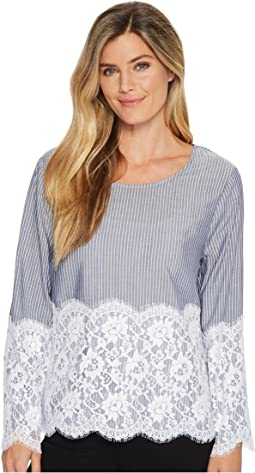Karen Kane Chambray Stripe Lace Top