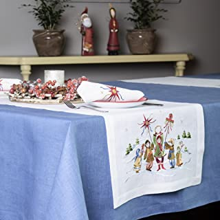 Christmas and New Year Linen Table Runner — Soft and Durable Cloth — Embroidered Table Cover— Premium Quality — Eco-Friend...