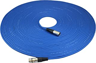 GLS Audio 100ft Mic Cable Patch Cord - XLR Male to XLR Female Blue Microphone Cable - 100' Balanced Mike Snake Cord