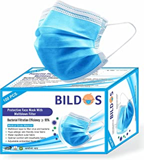 Bildos Melt-Blown Fabric 3 Ply Disposable Surgical Face Mask with Nose Clip (Blue, Without Valve, Pack of 100) for Unisex
