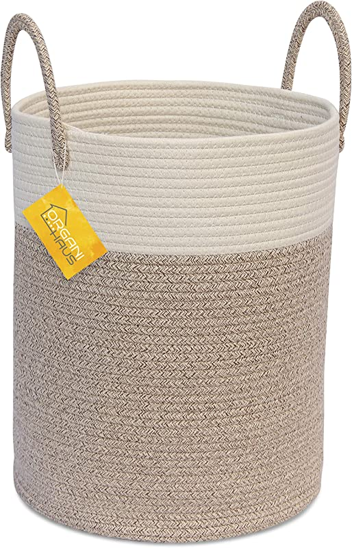 OrganiHaus Cotton Rope Basket In Brown And Off White Tall Blanket Storage Basket With Long Handles Decorative Hamper Basket Soft Toy Storage Bin Perfect As Laundry Or Clothes Hamper