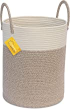 OrganiHaus Cotton Rope Basket in Brown and Off-White   Tall Blanket Storage Basket with Long Handles   Decorative Hamper Basket   Soft Toy Storage Bin   Perfect as Laundry or Clothes Hamper