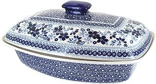 Blue Rose Polish Pottery Vintage Blue Daisy Covered Baker