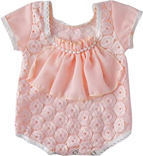 Baby Girl Pearl Ruffle Lace Romper Onesie Solid Clothes Outfits Jumpsuit Bodysuit Newborn Infant