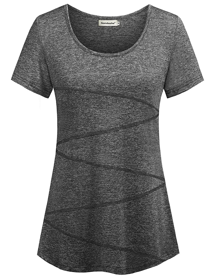 Nandashe Womens Short Sleeve Loose T-shirt for Yoga Running Workout Activewear