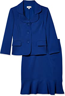 Tahari ASL Women's Nested 3 Button Jacket and Ruffle Skirt