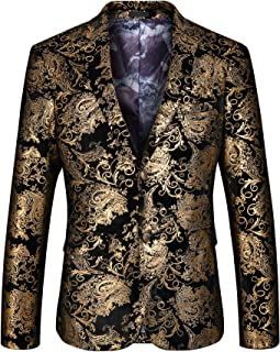 Men's Luxury Casual Dress Floral Suit Notched Lapel Slim Fit Stylish Blazer Jacket Party Coats