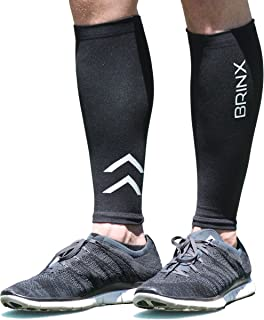 Brinx Calf Compression Sleeve (1 Pair) Reflective Leg Compression Socks for Running, Cycling, Sports, Shin Splint Relief, and Improved Circulation