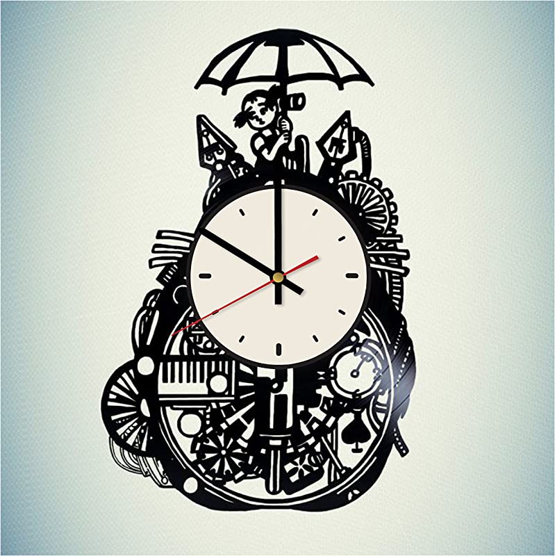 Pieceful Studio Ghibli Tokuma Vinyl Record Wall Clock Artwork Gift Idea For Birthday Christmas Women Men Friends Girlfriend Boyfriend And Teens Living Kids Room Nursery White Black