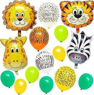 بالونات حفلات سفاري على شكل حيوانات الغابة اللطيفة لأعياد الميلاد للأطفال (عبوة من 65 قطعة)