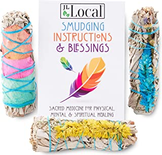 Fire Flowers Sage Smudge Sticks - Sage Bundles - White Sage with Beautiful Flowers (3 Pack)