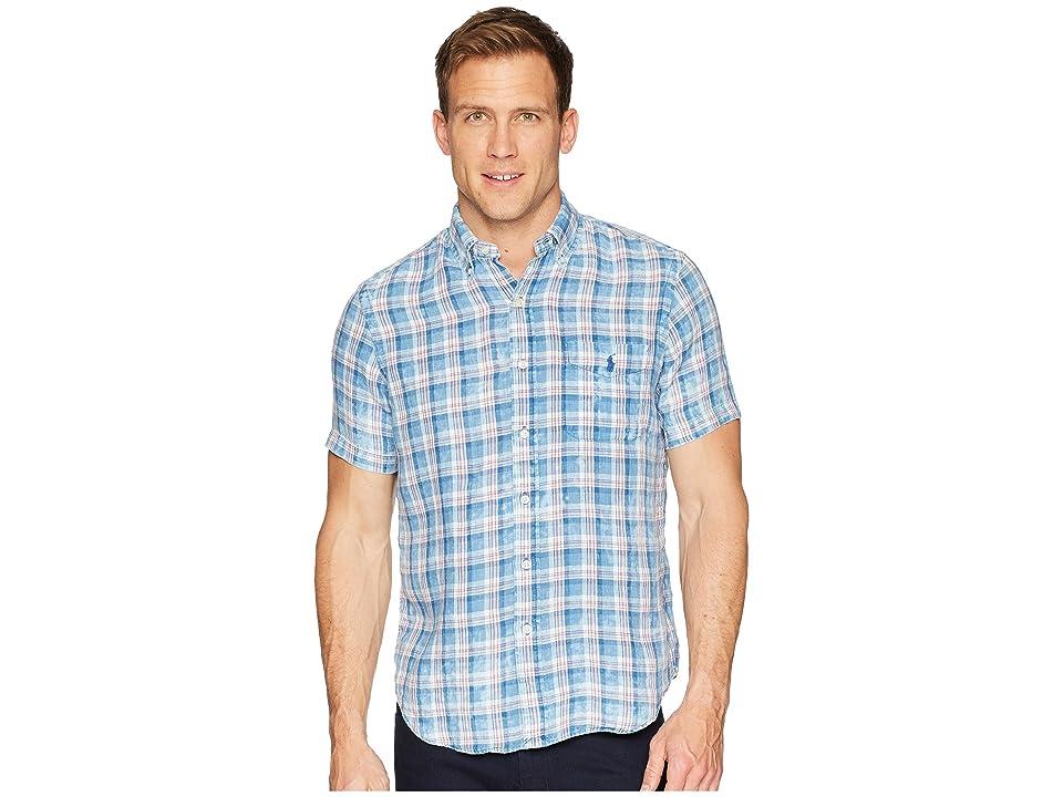 Polo Ralph Lauren Linen Short Sleeve Sport Shirt (Sky Blue/White Multi) Men