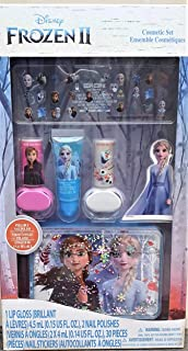 Disney Frozen 2 Nail Design Set / Elsa Frozen 2 Cosmetic Set for Kids 1-Lip Gloss 2-Nail Polish 30pcs Nail Stickers 1 Frozen Elsa Magic Glittered case