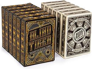 12デッキ Blind Tiger and Beers & Bluffs カードデッキ (6/6分割) 310gsm ブラックコアカードストック プラスチックコーティング 標準インデックスポーカーサイズ カジノスタイルカスタムデッキ ポーカー用...