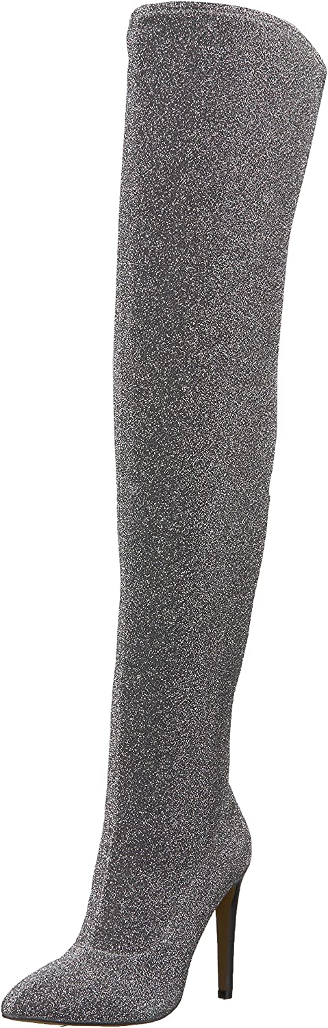The Fix Women's Mia Pointed-Toe Thigh-High Sock Boot Over The Knee