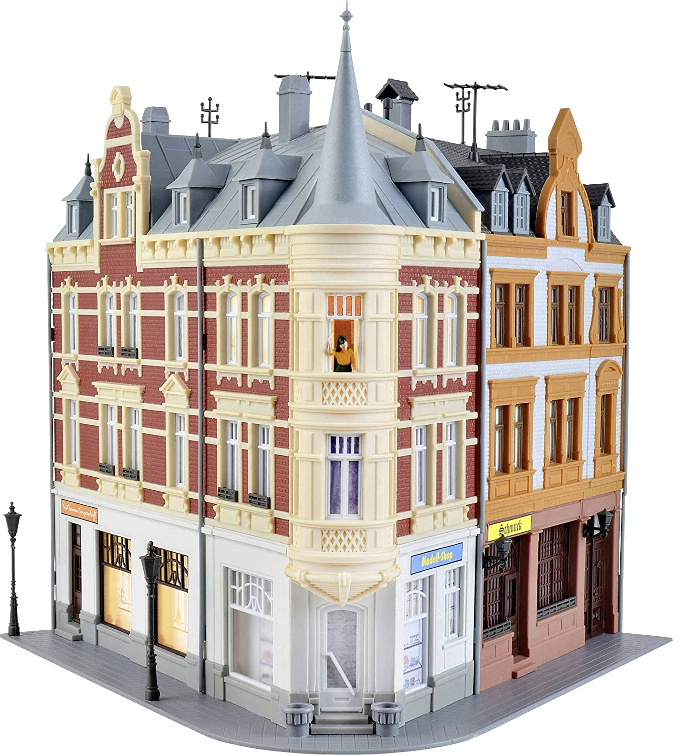 HO Town house with figure and house illumination start set f